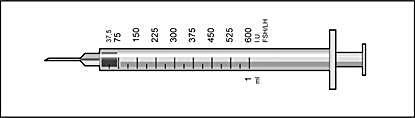Efter pulvret lösts i spädningsvätskan innehåller injektionsflaskan läkemedel för flera dagars behandling.