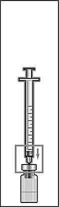 Håll injektionssprutan med fast nål lodrätt och stick in nålen i mitten på injektionsflaskan. Injektionssprutan innehåller en liten mängd luft som ska injiceras ovanför vätskan. Vänd flaskan upp- och ner och dra upp ordinerad dos Menopur i injektionssprutan (bild 6).