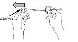8. Avlägsna nålskyddet och kassera det.