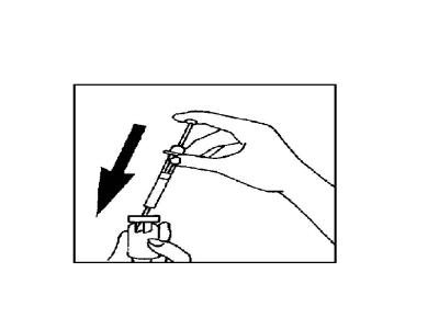 Bilden beskriver en spruta som trycks ner i en injektionsflaska