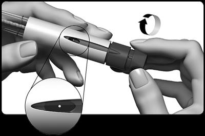 Vrid dosinställningsknappen försiktigt medurs till du ser en punkt på dosdisplayen