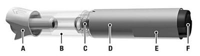 Bilden visar RebiDose förfylld injektionspenna före injektionen