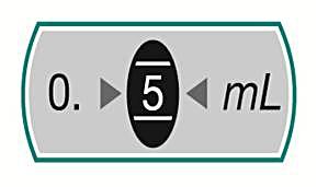 Bilden visar doseringsfönstret med dosen 0,5 ml inställd