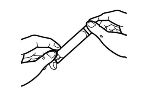 Händer öppnar ampull