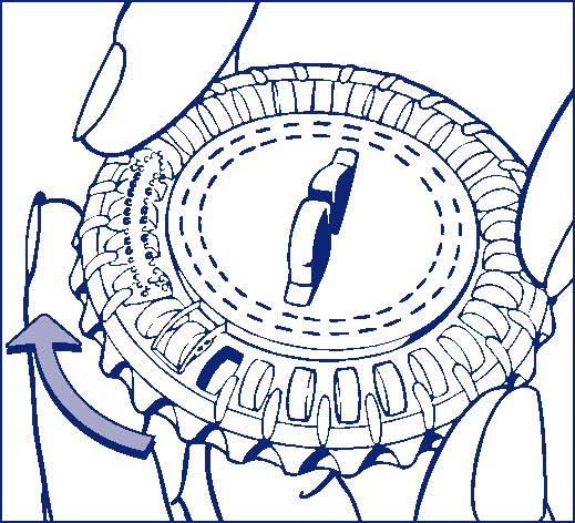 Vrid det genomskinliga locket medurs ett steg i pilens riktning. Tippa ut nästa tablett.