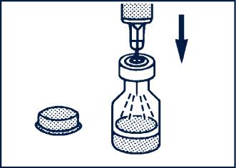 Stick in injektionsnålen genom gummimembranet i flaskan med glukagon och spruta ned allt vatten från sprutan till flaskan.