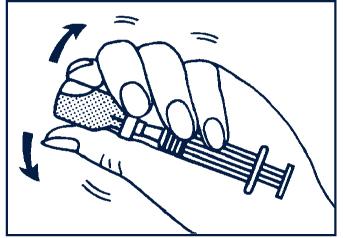 Skaka flaskan försiktigt tills allt glukagonpulver har lösts upp och en klar lösning har erhållits.