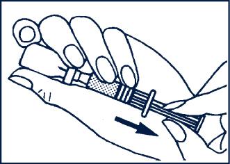Håll injektionsnålen i vätskan och drag sakta tillbaka all lösning till sprutan.