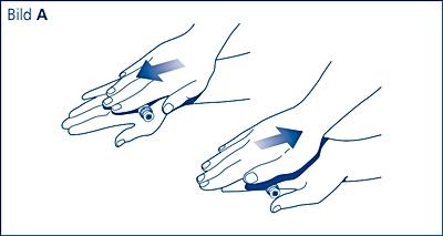 Rulla cylinderampullen mellan handflatorna 10 gånger – det är viktigt att cylinderampullen hålls horisontellt (vågrätt).