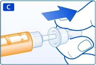 Dra av det stora yttre nålskyddet och spara det till senare.