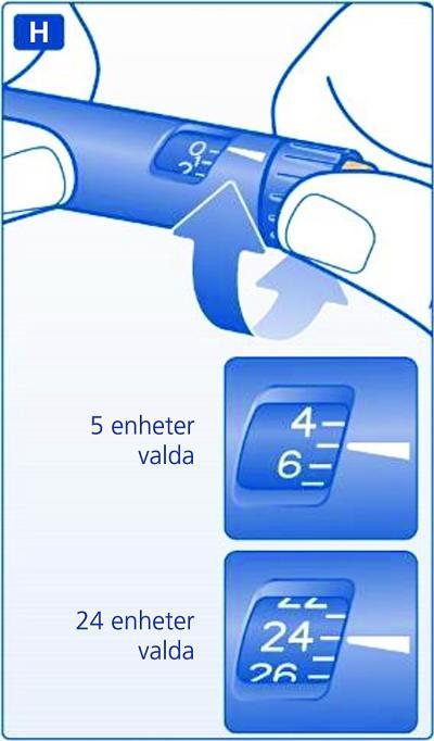 Vrid dosväljaren och ställ in det antal enheter du ska injicera.