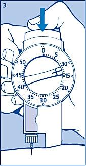 Injicera dosen genom att trycka in tryckknappen helt. Du kan höra hur det klickar när dosväljaren går tillbaka till 0.