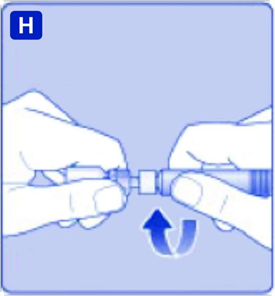 Skruva fast den förfyllda sprutan ordentligt på adaptern till du känner motstånd.