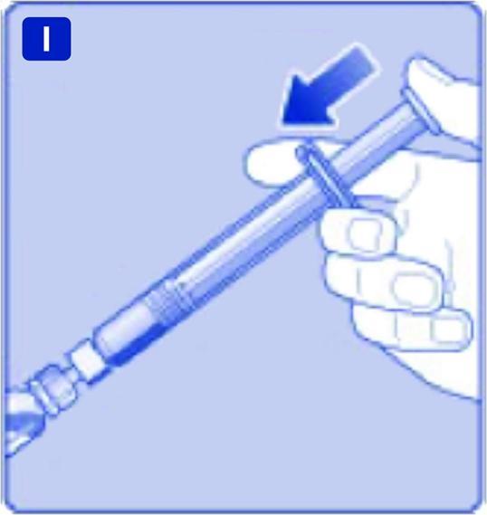 Tryck in kolvstången så att all spädningsvätska injiceras ner i flaskan.