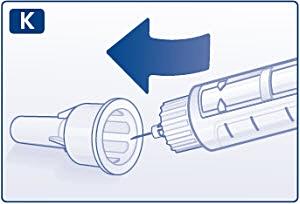 För in injektionsnålens spets i det yttre nålskyddet utan att röra det yttre nålskyddet.