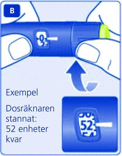 Om du vill se exakt hur mycket insulin som finns kvar ska du använda dosräknaren: Vrid dosväljaren tills dosräknaren stannar.