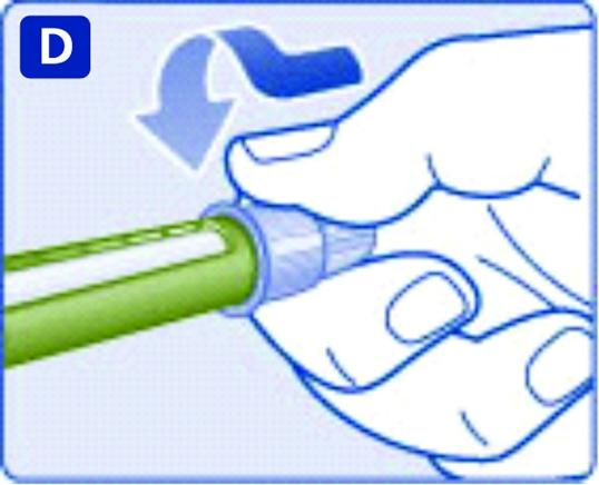 Tryck in injektionsnålen rakt i pennan. Skruva tills den sitter fast.