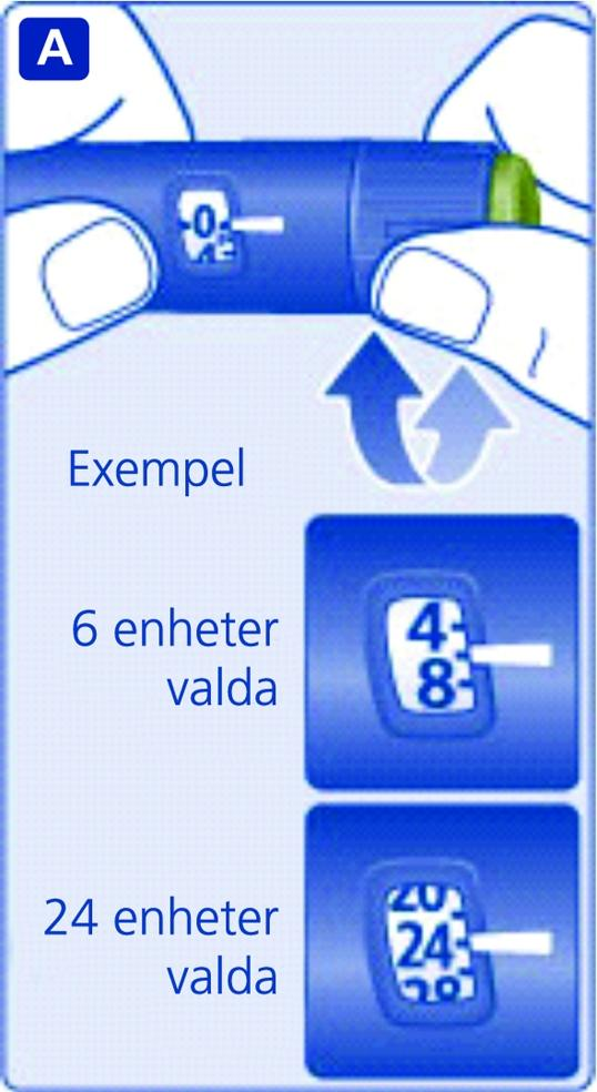 Vrid på dosväljaren för att välja den dos som du behöver enligt anvisningarna från läkare eller sjuksköterska.