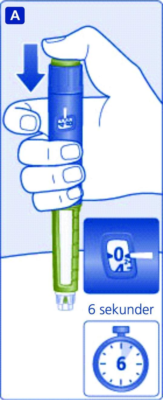 Håll kvar injektionsnålen under huden i minst 6 sekunder för att säkerställa att hela dosen har injicerats.