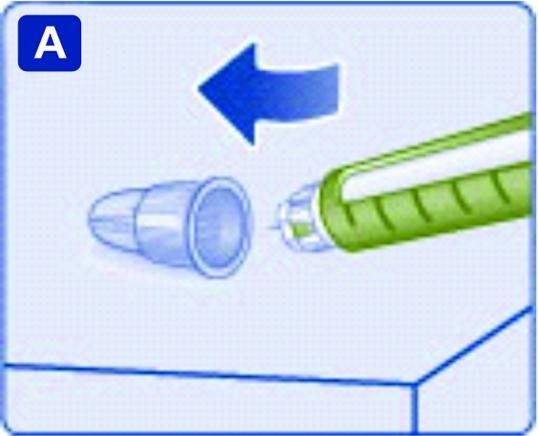 För in nålspetsen i det yttre nålskyddet på en plan yta utan att röra vid injektionsnålen eller det yttre nålskyddet.