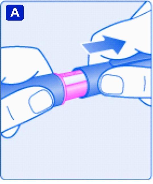 Kontrollera namnet och den färgkodade etiketten på sprutan för att vara säker på att det är Xultophy. Ta av pennhuven.