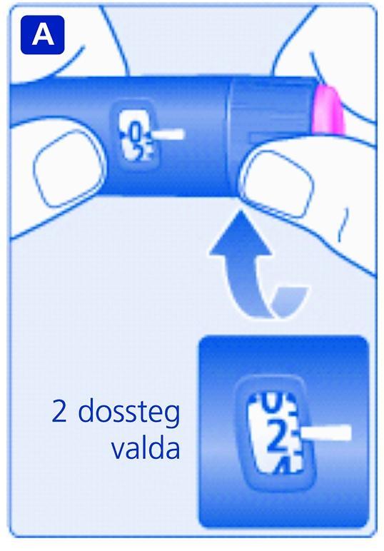Ställ in dosväljaren på 2 dossteg. Kontrollera att dosräknaren visar 2.