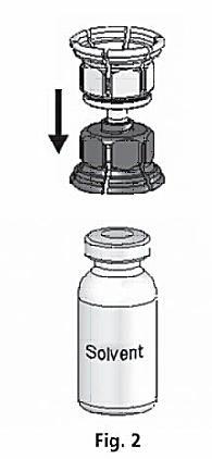 Sätt Mix2Vial på flaskan med spädningsvätska