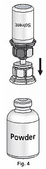 Vänd injektionsflaskan med spädningsvätska och Mix2Vial upp och ned
