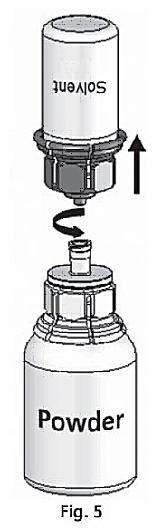 Rotera pulverflaskan med båda flaskorna till pulvret löst sig