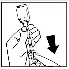 Dra långsamt in den slutliga lösningen i injektionssprutan.