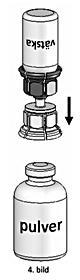 Sätt injektionsflaskan med den anslutna Mix2Vial på pulverflaskans propp och tryck till.