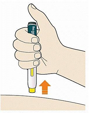 Bilden visar hur man drar bort pennan från huden