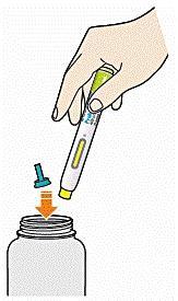 Bilden visar att man kastar pennan och skyddhylsan i en sticksäker behållare