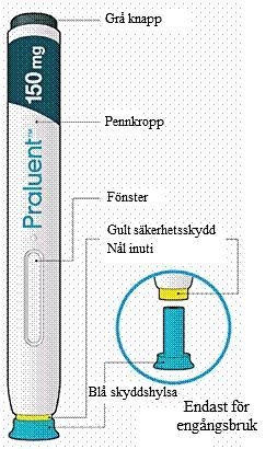 Bilden visar praluentpennans delar
