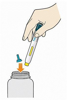 Bilden visar att man ska kasta pennan och skyddshylsan i en sticksäker behållare