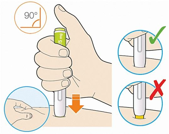 Bilden visar hur man håller Praluentpennan mot huden vid injektionsstället
