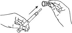 Bilden visar hur man drar av det yttre injektionsnålskyddet.