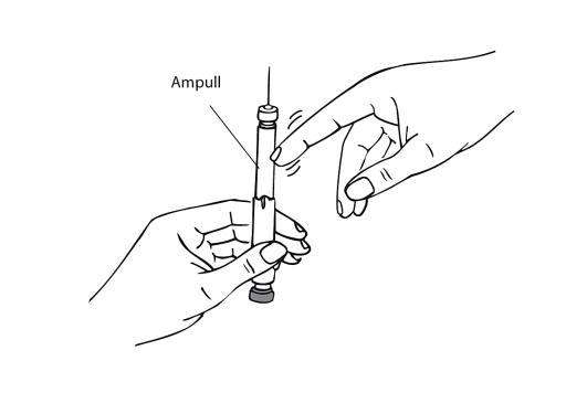 Bilden visar hur man försiktigt knackar bort eventuella luftbubblor.