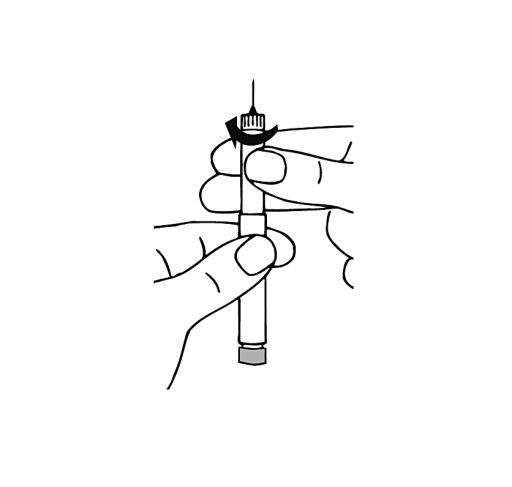 Bilden visar hur man vrider ampullen medsols tills man känner att det klickar till.