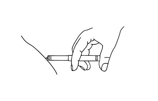 Bilden visar hur nålen sticks in i huden. Tryck sedan in tryckknappen helt.