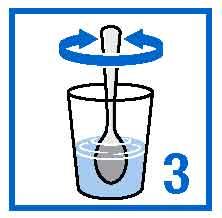 Rör om tills granulatet är jämt fördelat i vattnet.