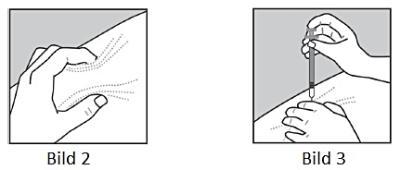 Bild 2 och 3. Nyp upp skinnet och tryck in nålen.
