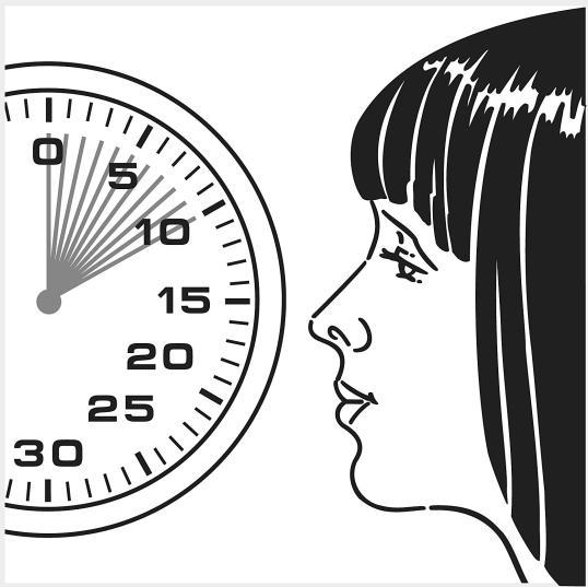 Bild 4 visar att man håller andan 5-10 sekunder och långsamt andas ut.