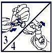 Bild 3 visar hur man utlöser en dos genom att skjuta dosutlösaren i botten av munstycket. Bild 4 visar hur man utlöser den andra spraydosen genom att laddaren trycks ner igen och sedan upprepas punkt 2 och 3 (bild 2 och 3). Efter den andra spraydosen trycks laddaren åter ned och Airomir Autohaler är färdig att användas.