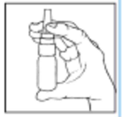 Bilden beskriver hur man ska hålla sprayflaskan