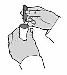 Bilden visar hur man fyller nebulisatorns behållare.