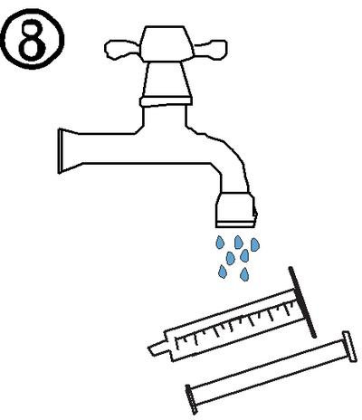 Skölj sprutan med enbart vatten