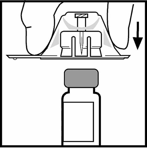 Bilden beskriver hur adaptern sätts på flaskan