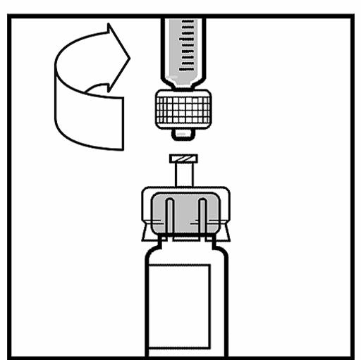 Bilden beskriver hur sprutan fästs på flaskan