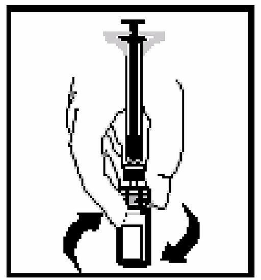 Bilden beskriver hur flaskan roteras